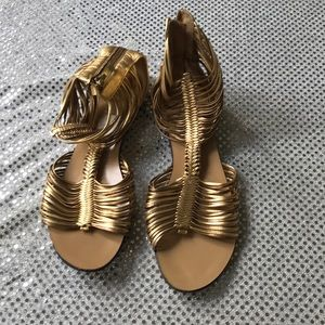 Vince Camuto Gold Caged Flat Sandals